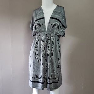 Cristinalove Gray Dress Floral Print Sz Small